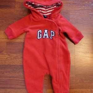 BABY GAP Red Fleece Hooded Jumpsuit - Sz. 0-3 mo.